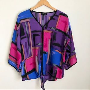 Melissa Paige Purple Abstract Front Knit Blouse